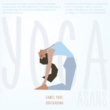 Camel Pose (Ushtrasana) asana. Vector illustrated poster template with girl doing yoga exercises. Camel Pose (Ushtrasana) asana. Vector poster template with girl Royalty Free Stock Photos
