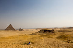 Camel and The Pyramid. Camel rest near by Pyramids in sunshine Royalty Free Stock Photo