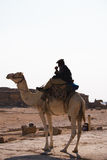 Camel ride. Silhouette of Arabian man riding a camel near Great Pyramids in Giza, Cairo, Egypt Royalty Free Stock Photography