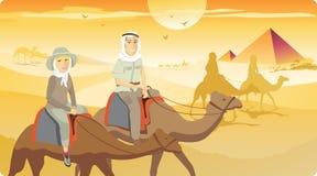 Camel Ride in Desert. Desert camel safari in Africa Stock Photography