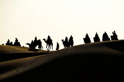 Camel ride into the desert. A group of people traveling by camel into the Jaisalmer desert in west india next to Pakistan border Royalty Free Stock Photography
