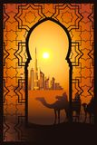 Camel riders in the desert near Dubai city in the arabesque fram. Three camel riders at the sunset in the desert on the Dubai city vector illustration. View Stock Image