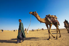 Camel riding, Thar Desert, India Royalty Free Stock Photography