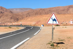 Camel Road Sign. In the road at mountains. Morocco Royalty Free Stock Photo