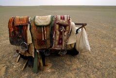 Camel saddles, Mongolia. A nomadic herder's camel saddles, propped on a trailer outside a ger in the Gobi Desert, Mongolia stock images