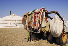 Camel saddles, Mongolia. A nomadic herder's camel saddles, propped on a trailer outside a ger in the Gobi Desert, Mongolia Stock Photography