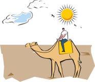 Camel safari. Tourist riding on a camel Stock Photos