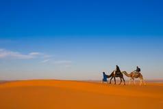 Camel safari on west sahara desert Stock Photo