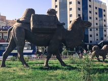 Camel sculpture in the city Stock Photos