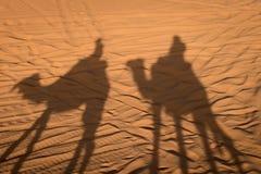 Camel shadows on Sahara Desert sand in Morocco. Stock Image