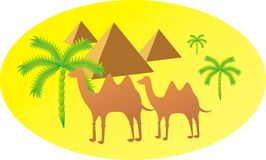 Camel silhouette. The Egyptian pyramids a camel and a palm tree drawn by a vector Royalty Free Stock Photo