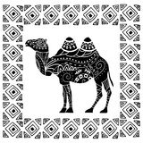 Camel silhouette with tribal ornaments  Royalty Free Stock Photography