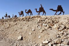 Camel Statues in the Negev, Israel. Camel statues in En Avdat National Park, the Negev desert, Israel Royalty Free Stock Photography