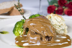 Camel steak in gravy a la carte royalty free stock photography