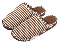 Camel striped cotton slippers on a white background. 。Only a pair of royalty free stock images