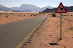 Camel Traffic Sign. At the Wadi Rum desert in Jordan royalty free stock image