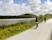 Camel trail. The camel trail cycleway and footpath along disused railway line the estuary of the river camel padstow and rock cornish coast cornwall england uk Royalty Free Stock Photos
