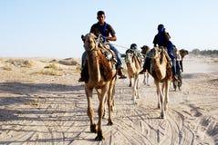 Camel Train, Sahara Desert, Douz, Tunisia. Group of camels and riders, Sahara Desert, Douz, Tunisia. Douz is known as the 'gateway to the Sahara Stock Photo