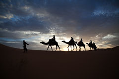 Camel train silhouetted against colorful sky crossing the Sahara. Desert, Morocco royalty free stock photo