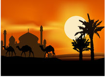 Camel trip with mosque background Royalty Free Stock Image