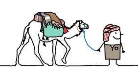 Camel & Tuareg. Hand drawn cartoon characters Stock Photography