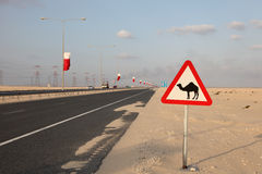 Camel warning sign at the highway Stock Photo