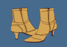 Camel Zipped Boots Royalty Free Stock Photo