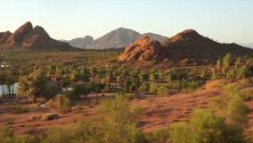 Camelback Mountain seen from Papago Park Phoenix Arizona. USA stock footage