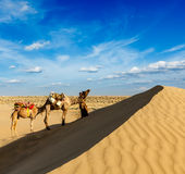Cameleer (οδηγός καμηλών) με τις καμήλες στους αμμόλοφους Thar της ερήμου. Raj στοκ φωτογραφία