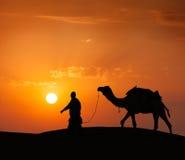 Cameleer (οδηγός καμηλών) με τις καμήλες στους αμμόλοφους Thar της ερήμου. Raj Στοκ Εικόνες