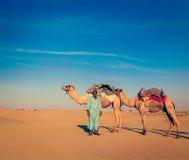 Cameleer (kameelbestuurder). Rajasthan, India Royalty-vrije Stock Foto's