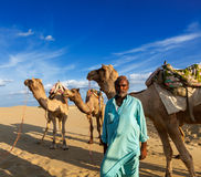Cameleer (wielbłądzi kierowca) z wielbłądami w diunach Thar pustynia. Raj Zdjęcie Royalty Free
