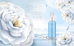 Camellia cosmetic ads stock illustration
