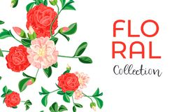 Camellia flower collection concept banner, cartoon style stock illustration