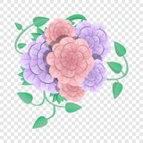 Camellia flower concept background, cartoon style royalty free illustration