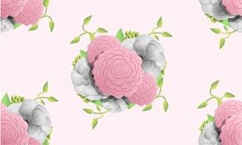 Camellia flower pattern, cartoon style royalty free illustration