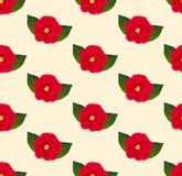 Camellia Flower Seamless rossa sul fondo beige dell'avorio Illustrazione di vettore Immagini Stock