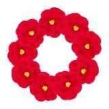 Camellia Flower Wreath rossa isolata su fondo bianco Illustrazione di vettore Fotografia Stock