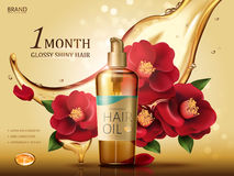 Camellia hair oil ad. Camellia hair oil contained in a bottle, with red camellia flowers and oil flow, golden background 3d illustration Royalty Free Stock Photos