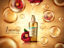 Camellia hair oil ad. Camellia hair oil contained in a bottle, with red camellia flowers and golden oil drops, golden background 3d illustration Stock Image