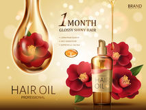 Camellia hair oil ad. Camellia hair oil contained in a bottle, with red camellia flowers and a huge oil drop covering a flower, golden background 3d illustration Stock Photo