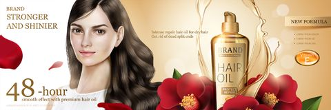 Camellia hair oil ads. Camellia hair oil with beautiful long hair model and flower ingredient on glitter background in 3d illustration vector illustration