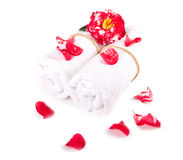 Camellia over towel  Royalty Free Stock Photo