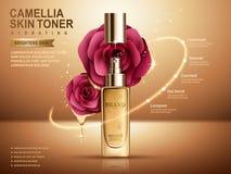 Camellia skin toner ad Royalty Free Stock Image