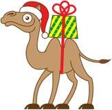 Camello de la Navidad que lleva un regalo en el suyo detrás stock de ilustración
