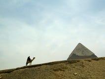 Camello en el desierto con el hombre Fotografía de archivo