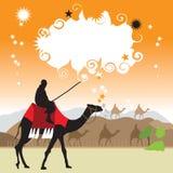 Camello en el desierto, marco stock de ilustración