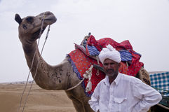 Camello y el hombre Imagenes de archivo