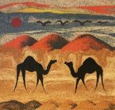 Camellos en desierto stock de ilustración
