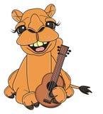 Camelo com guitarra ilustração royalty free